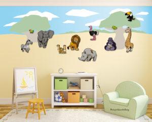 AfrikaKomplettset_Zimmeransicht_3D_Wand_Design_Kinder_Schild
